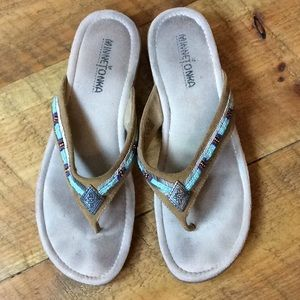 Minnetonka suede thong sandal with bead detail 9